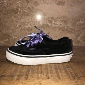 Vans Girls Black Velvet W/ Purple sneakers size 12